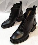 Dolce Gabbana Женские кожаные лаковыезимние ботинки полуботинки на шнуровке, со змейкой средний каблук. Зима., фото 8