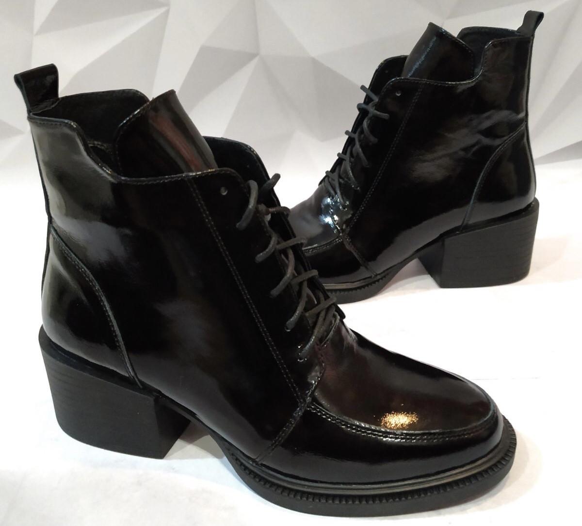 Dolce Gabbana Женские кожаные лаковыезимние ботинки полуботинки на шнуровке, со змейкой средний каблук. Зима.