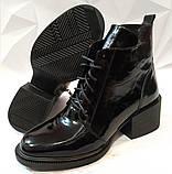 Dolce Gabbana Женские кожаные лаковыезимние ботинки полуботинки на шнуровке, со змейкой средний каблук. Зима., фото 2