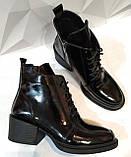 Dolce Gabbana Женские кожаные лаковыезимние ботинки полуботинки на шнуровке, со змейкой средний каблук. Зима., фото 3