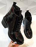Dolce Gabbana Женские кожаные лаковыезимние ботинки полуботинки на шнуровке, со змейкой средний каблук. Зима., фото 4