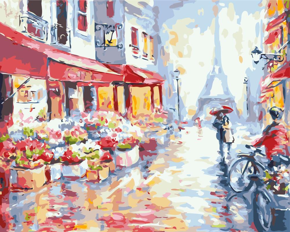 Картина по номерам Цветочная улица в Париже 40х50 Yarik's (без коробки)