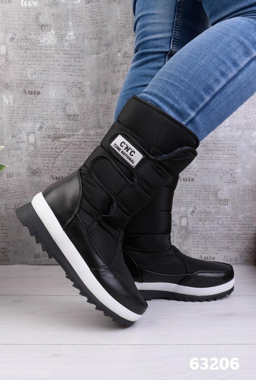 Женские зимние ботинки / дутики / дутыши черные на липучках