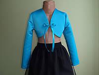 Дитяче атласне болеро зі стрічкою, блакитне, фото 1