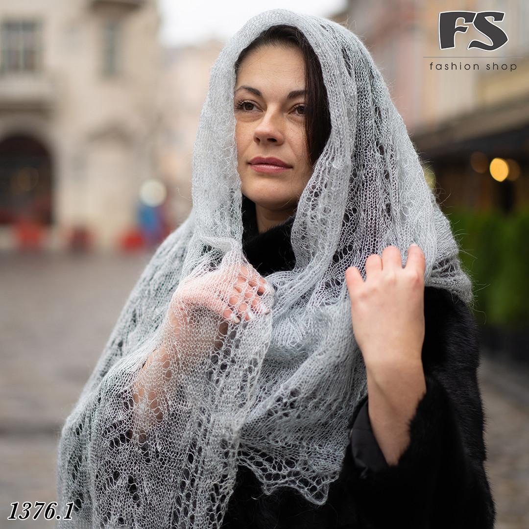Женский серый  стильный палантин- паутинка Мира