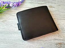 Черный маленький кожаный кошелек мужской портмоне бумажник с тиснением лев на кнопке ручной работы, фото 2