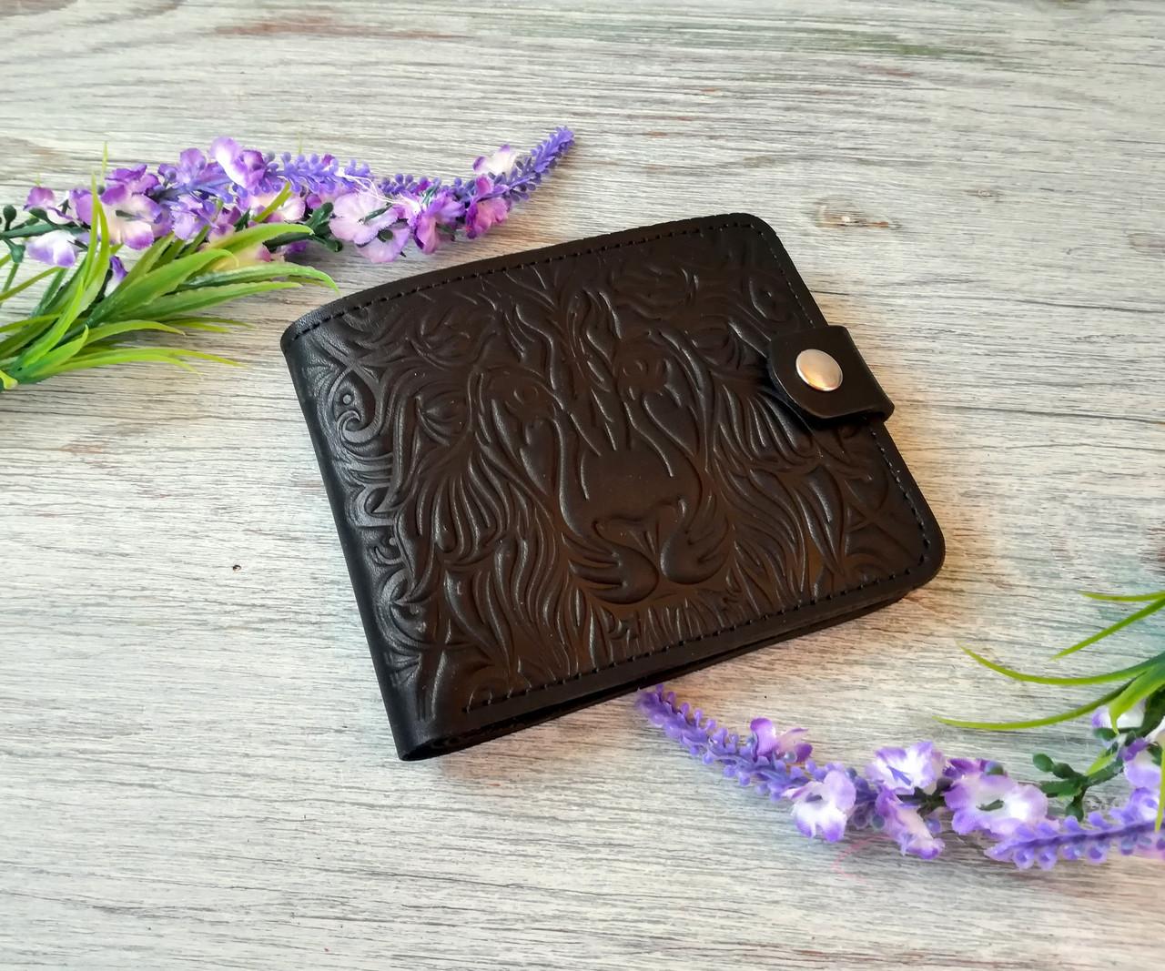 Черный маленький кожаный кошелек мужской портмоне бумажник с тиснением лев на кнопке ручной работы
