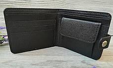 Черный маленький кожаный кошелек мужской портмоне бумажник с тиснением лев на кнопке ручной работы, фото 3