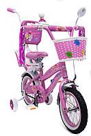 Детский Велосипед PRINCESS 12 дюймов для девочки с родительской ручкой и багажником для куклы