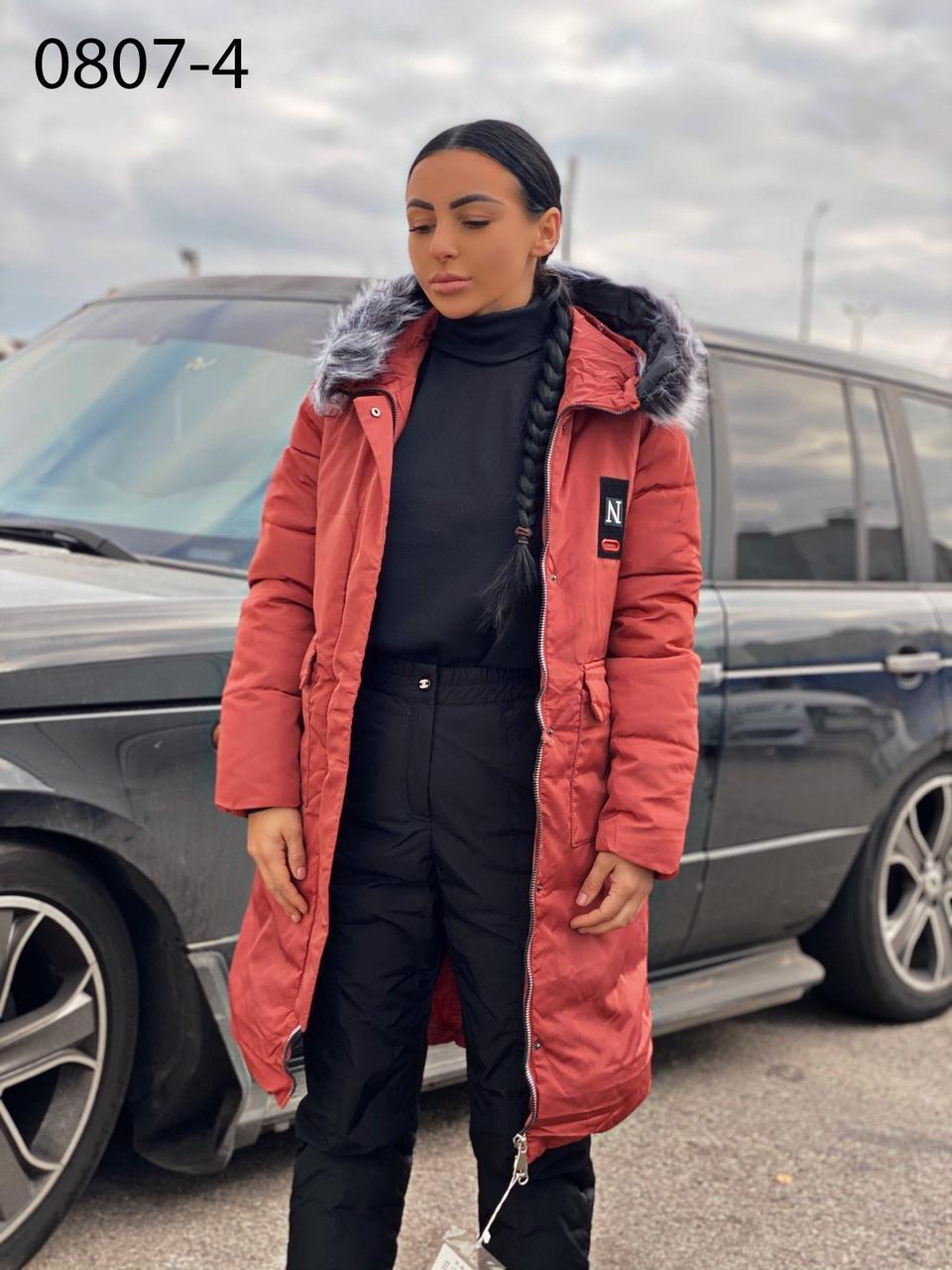 Куртка теплая плащевая женская  на синтепоне 200, терракот и черный