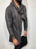 Серая мужская кофта мантия с капюшоном демисезонная Кардиган мужской осенний с капюшоном серого цвета M
