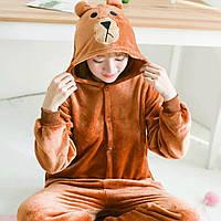 Кигуруми пижама детская коричневый Медведь костюм комбинезон