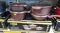 Набор кастрюль и сковорода 2.5л 4.5л 6.5л;  сковорода 28см Benson  BN-334 (красный)- 8 предметов, фото 1