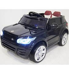 Дитячий електромобіль Джип M 3402 EBLR-2, Land Rover, колеса EVA, шкіряне сидіння, чорний