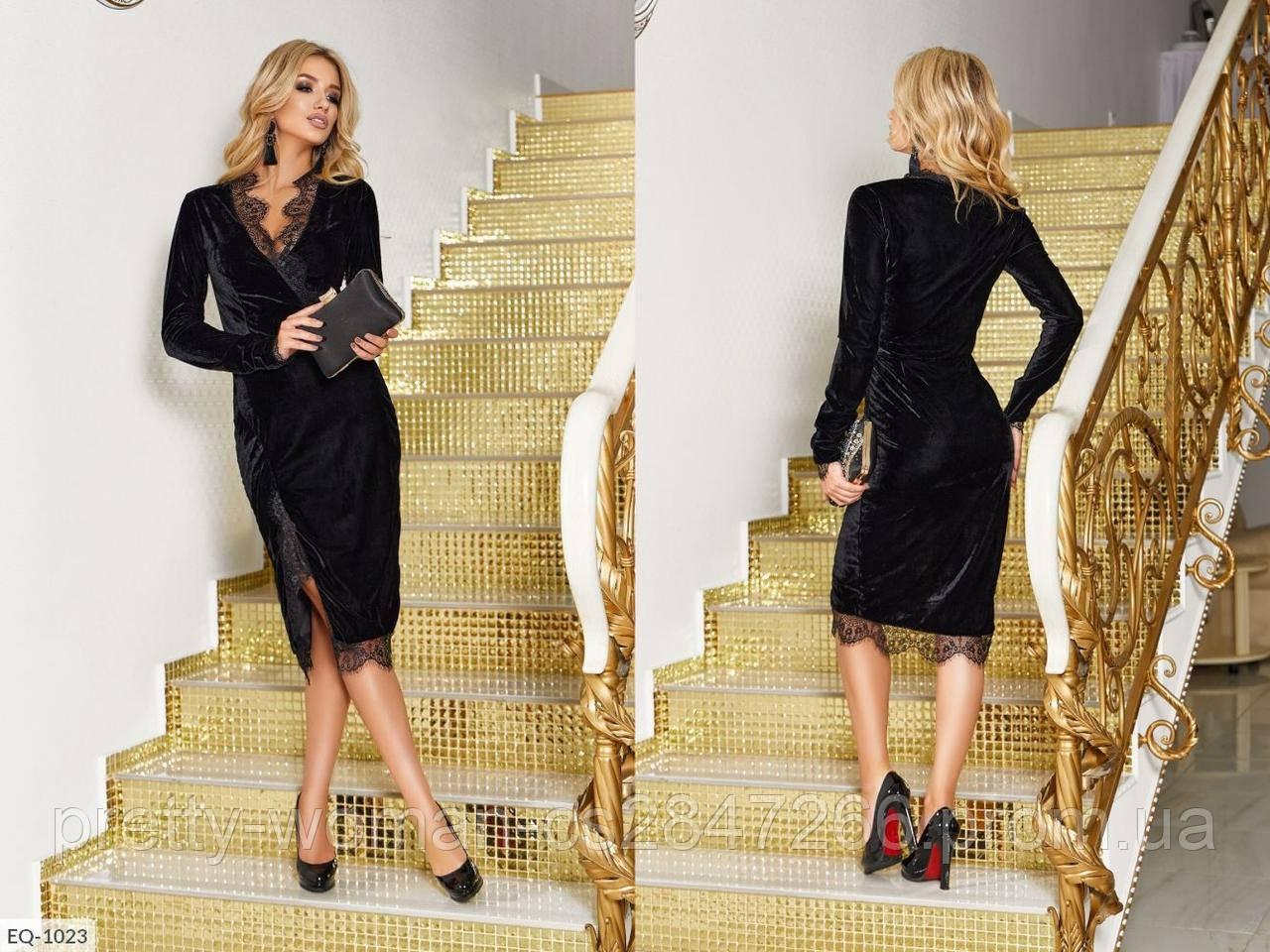 Красивое велюровое платье цвет черный
