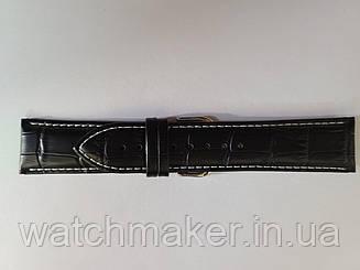 Черный кожаный ремешок  с белой строчкой   с фактурой под крокодила,  24 мм (22мм)