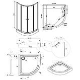 Угловая душевая кабина Q-tap  Presto WHI1099AP5 Pear + поддон Uniarc 309915, фото 2