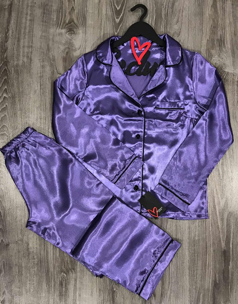 Атласная брючная пижама с кантом штаны и рубашка 031, пижамы женские.