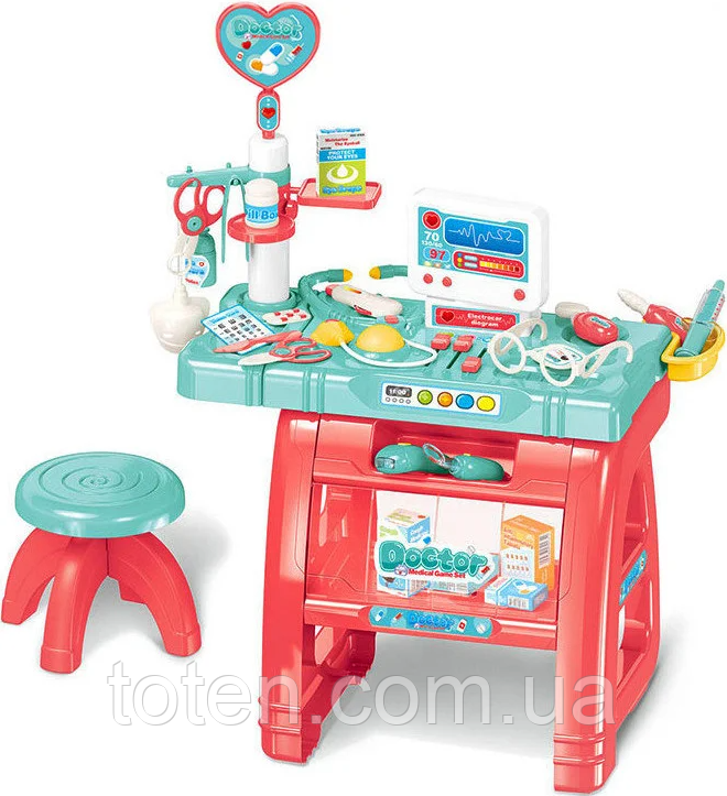Доктор 660-62 стіл 77 см, стілець, комп'ютер, інструменти, 22 предмета, звук, світло