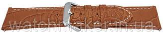Коричневый кожаный ремешок  с белой строчкой теснением крокодила 24мм (22 мм)