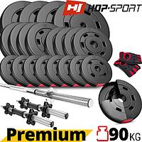 Набор Hop-Sport Premium 90 кг + перчатки. Гантели разборные и Гриф для штанги: прямой, изогнутый (W или Z)