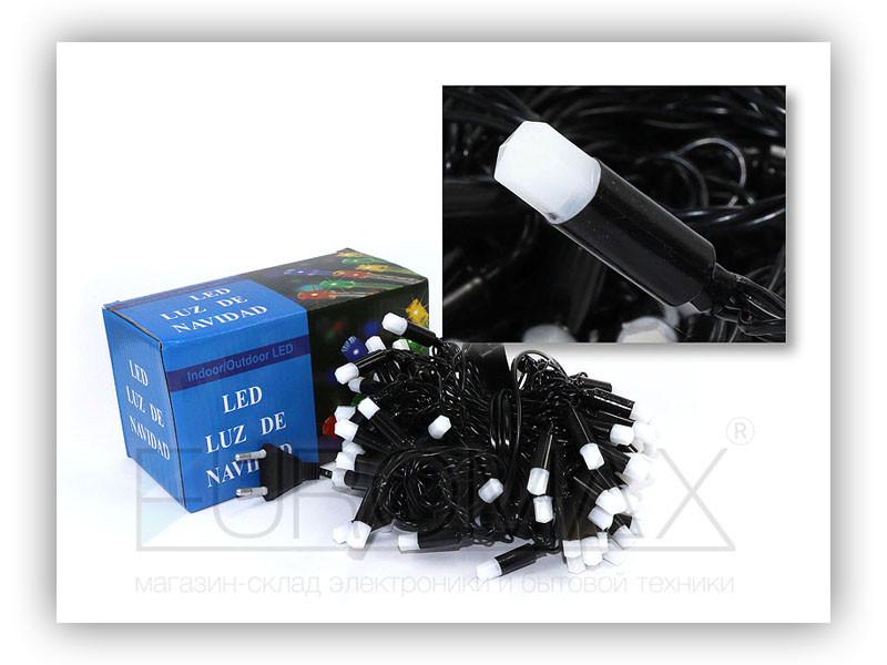 Гирлянда черный провод матовая шестигранная лампа 100LED (микс) 60шт 100-PLASTIC-M