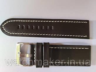 Темно-коричневый кожаный ремешок  с белой строчкой с теснением крокодила 24мм (24 мм)