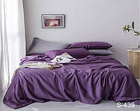 Двуспальный комплект постельного белья фиолетовое из люкс-сатина S439