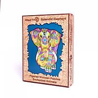 Деревянный фигурный пазл Великолепный Слон Wood trick. Деревянная головоломка Слон (Опт, дропшиппинг).