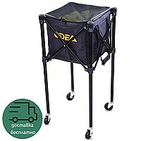 Теннисная корзина-сумка для сбора и хранения мячей теннисных ODEAR 35 х 35 х 90 см на 160 шт Черный (BT-0464)