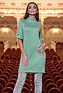 Тёплое короткое платье женское ангора оливковое, фото 4