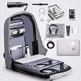 Рюкзак Bobby Антивор для ноутбука, учебы Бобби городской с USB разъем, фото 2