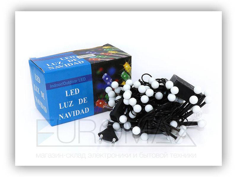 Гирлянда черный провод белая матовая круглая лампа 100LED (белый) 60шт LED100W-9-2