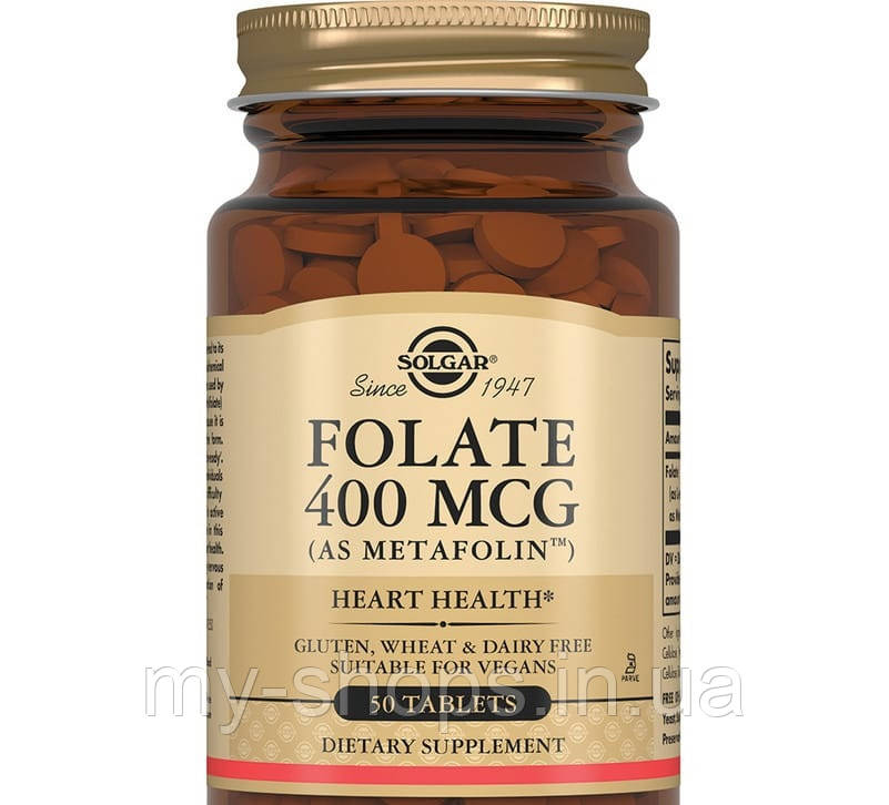 Фолат 400 мкг (Метафолин) таблетки с фолиевой кислотой. SOLGAR