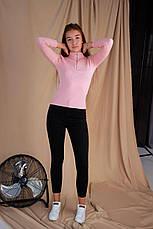 Женская кофта гольф розовая с замком, фото 2