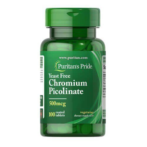 Puritan's Pride Chromium Picolinate, Хром Пиколинат 500 mcg Yeast Free (100 таб.)