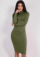 """Платье женское ангоровое большого размера """"Crystall"""" цвет хаки"""