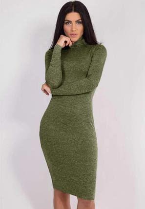 """Платье женское ангоровое большого размера """"Crystall"""" цвет хаки, фото 2"""