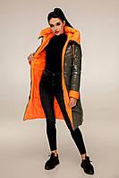 Пуховик  женский зимний, выполнен из двух цветов плащевой ткани, полуприлегающего силуэта с 44 по 54 размер, фото 3
