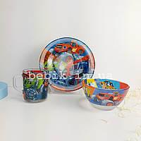 Подарунковий набір дитячого посуду Вспыш і диво-машинки із скла