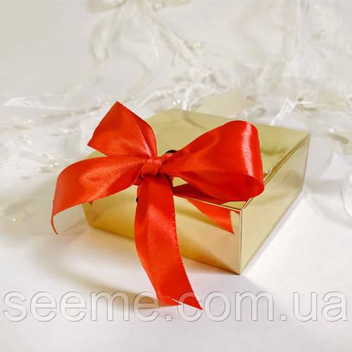 Коробка подарочная 80х80х35 мм, цвет золотой