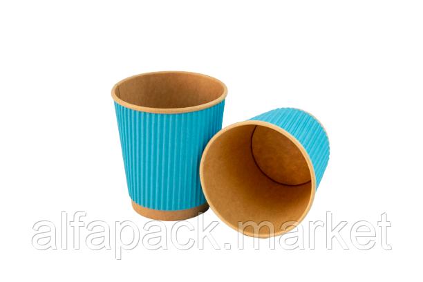 Гофрированный стакан голубой Eco craft, 250 мл (евростандарт) ( в упаковке 30 шт) 060530001