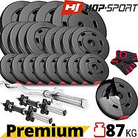 Набор Hop-Sport Premium 87 кг + перчатки. Гантели разборные и Гриф для штанги: изогнутый (W или Z), блины