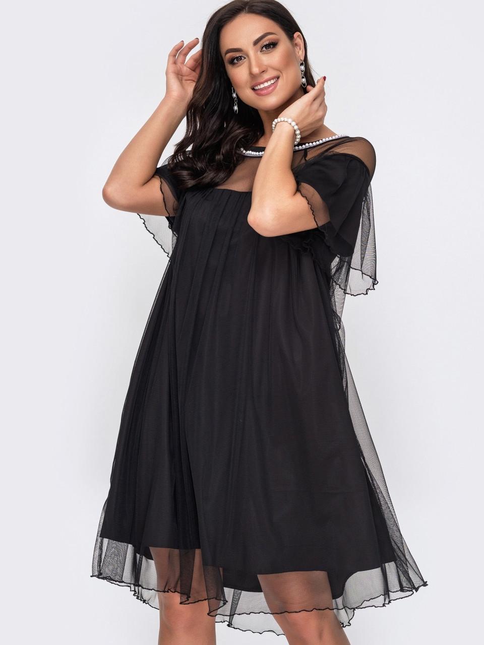 Р 48-62 Женское черное вечернее платье из фатина большие размеры