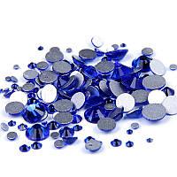 Фурман Камни сваровски стекло разного размера синие 720 шт (черный пакет)