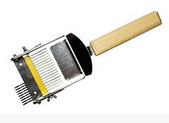 Вилка раскладушка для распечатки сот, наржавейка, деревянная ручка