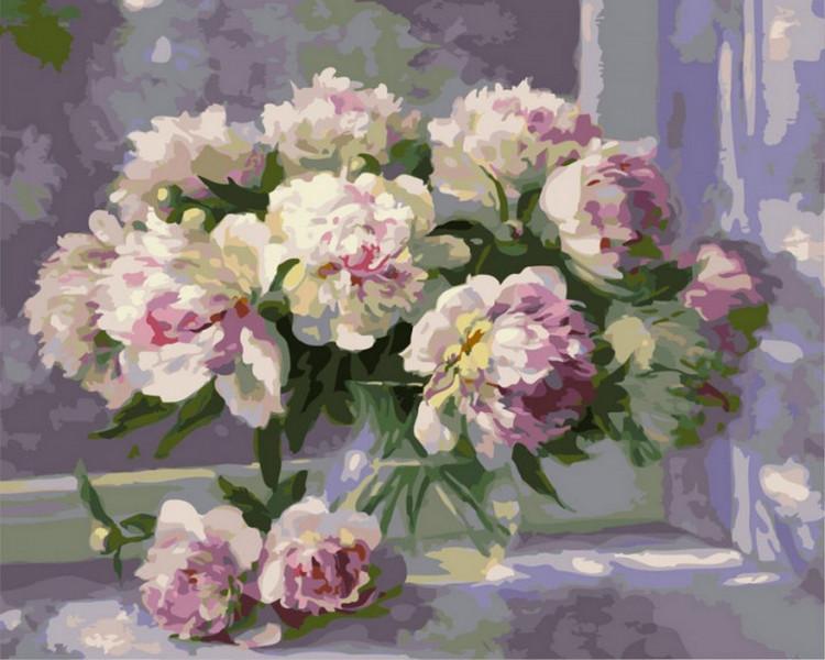 """Картина по номерам Rainbow Art """"Пышные пионы в стеклянной вазе"""", 40*50см, GX24701"""