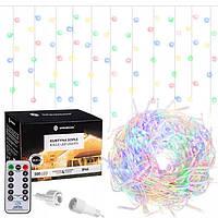 Новогодняя гирлянда Бахрома 500 LED, Разноцветный, 22,5 м + пульт