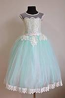 Нарядное бальное платье на девочку 5-7 лет пышное детское, мятного оттенка, фото 1