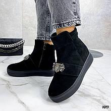 Только 38, 40 р! Женские ботинки ЗИМА/ зимние черные со стразами натуральная замша